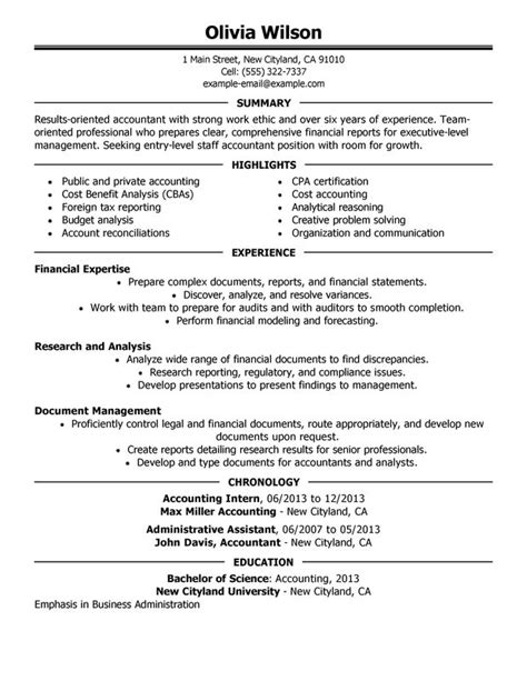 Sle Resume For Experienced Accountant by Accountant Resume Resume Format Pdf
