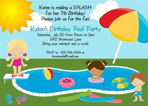 printable birthday invitations pool party bear river photo greetings pool party birthday invitation