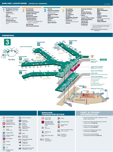 ohare airport map o hare airport terminal 3 map