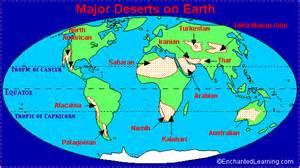 World Map Deserts by Desert Locations
