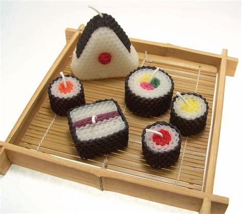 Handmade In Japan - sushi candle gift set original assorted sushi candles beeswax