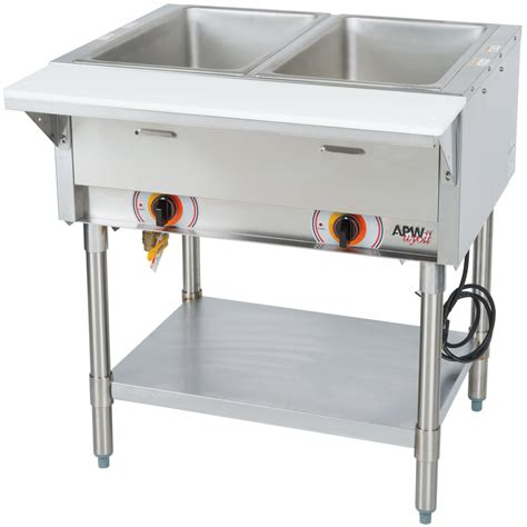 apw wyott psst2s portable steam table two pan sealed well