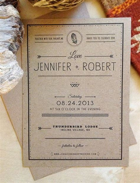boho rustic craft paper wedding invitation kraft paper