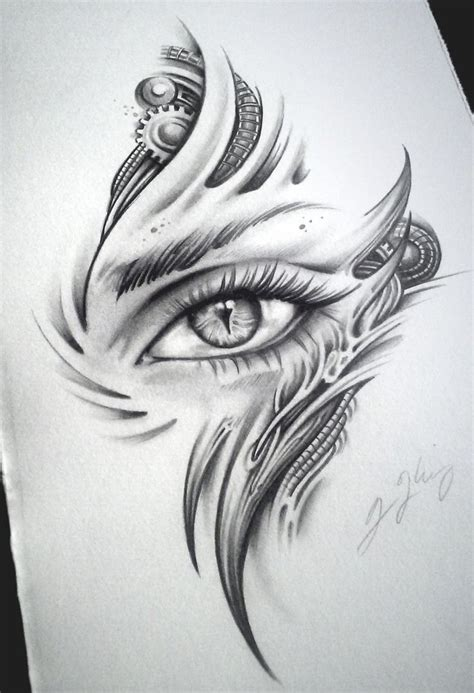 drawn tattoos biomech eye child by j on