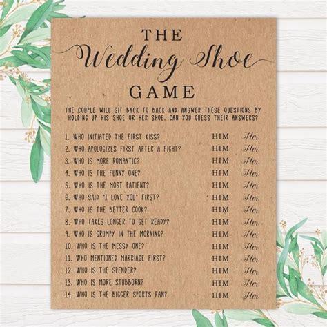 wedding shoe printable bridal shower game printable
