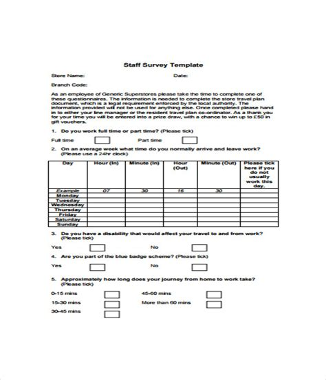 survey templates 17 word pdf documents download