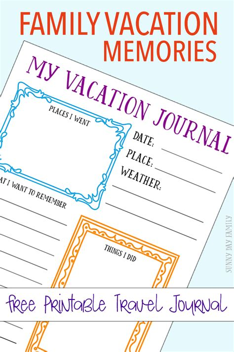 printable vacation journal free printable travel journal for your family vacation