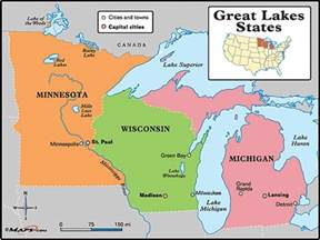 great lakes states map by maps from maps world