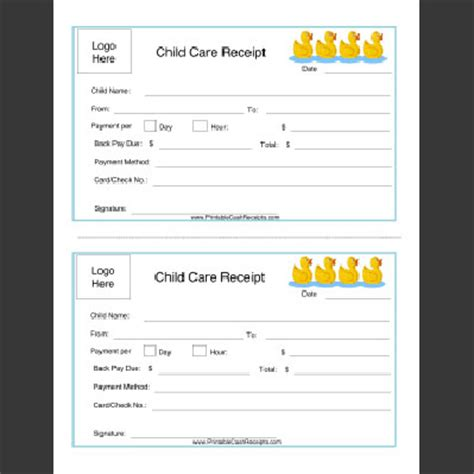 receipt for daycare services year end statement template printable receipts