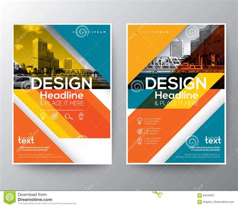 poster design report red and orange diagonal line brochure annual report cover