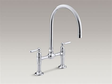 kohler gooseneck kitchen faucet standard plumbing supply product kohler k 7337 4 bs hirise two deck mount bridge kitchen