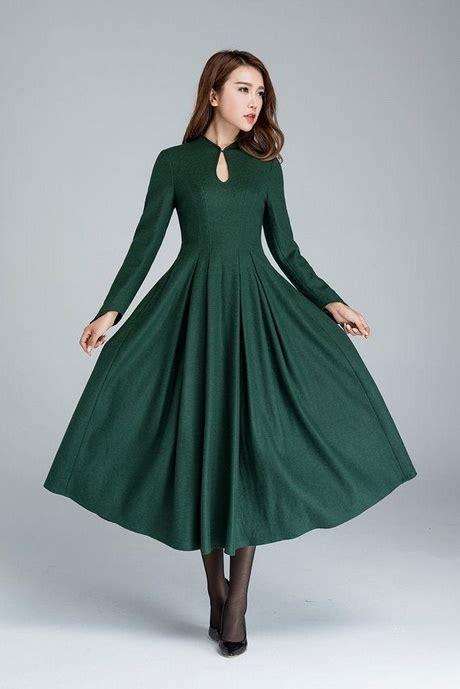 gruenes langarm kleid