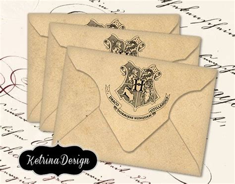 printable vintage envelope instant download blank hogwarts themed vintage envelopes