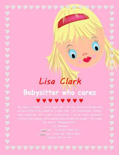 babysitting flyer template word google search kenzie
