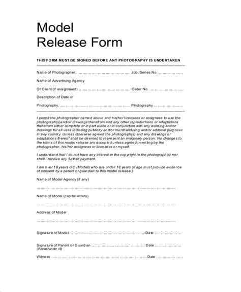 model release template sle model release form 9 exles in pdf word