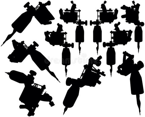 tattoo machine video download lot of black silhouette graphic tattoo machines stock