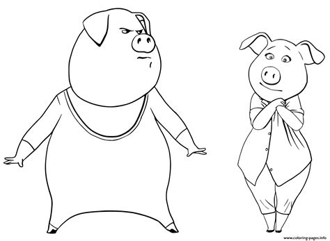 printable coloring pages cing pigs from sing coloring pages gunter and rosita coloring