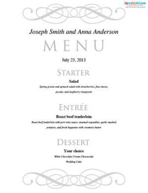 menu card templates for wedding reception free printable wedding menu templates lovetoknow