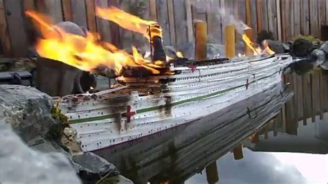 titanic boat fire rc britannic is destroyed by a terrorist attack and sinks