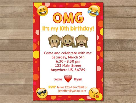 printable emoji birthday invitations emoji printable birthday invitations page three birthday