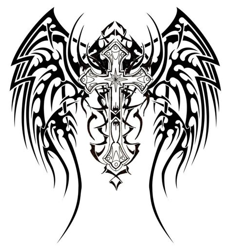 cross with wings tattoos designs 53 tribal designs