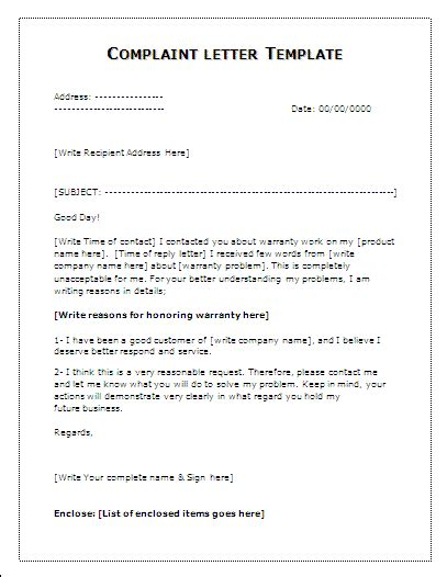 Complaint Letter Format In Complaint Letter Template Word Templates