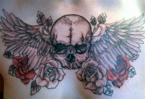 crazy ink tattoo grey ink winged skull chest tattooshunt