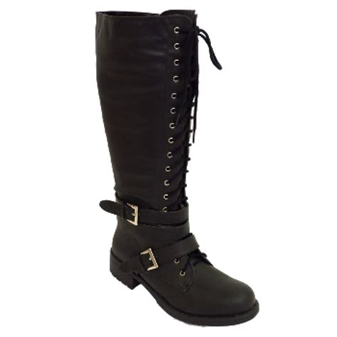 wide calf lace up boots black zip up lace up knee high biker wide fit calf