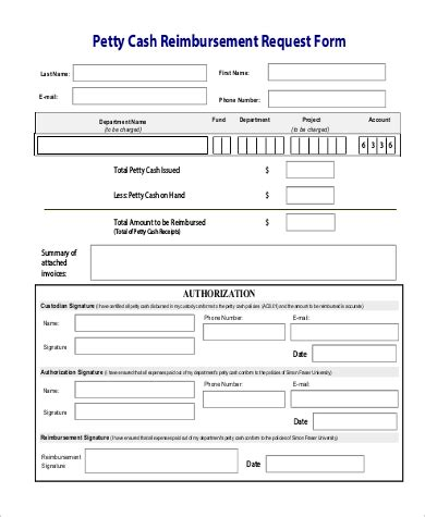 Petty Reimbursement Form Template by Sle Petty Request Form 9 Exles In Word Pdf