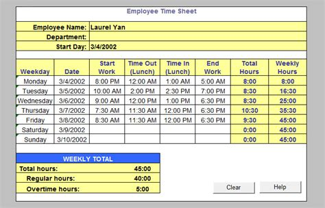 timesheet calculator excel time sheets template easy time sheets
