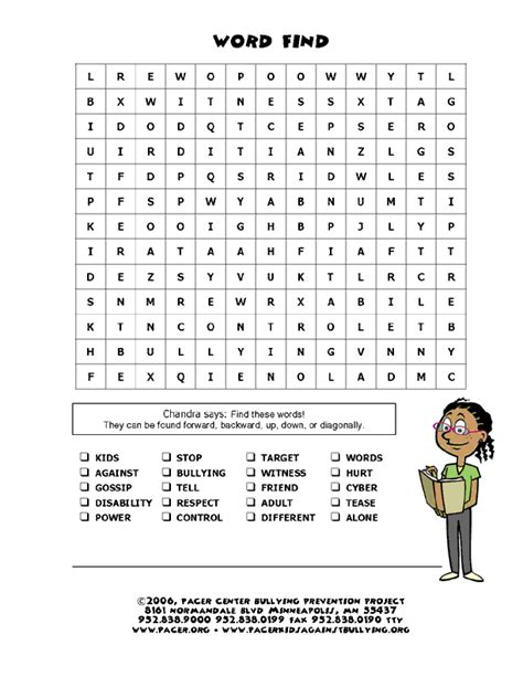 printable word search on bullying a word search books on bullying and crafts pinterest