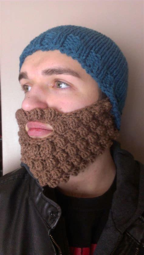 knitted hat with beard bearded hat pattern knit hat and crochet beard