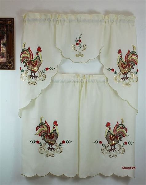 rooster kitchen curtains rooster sequins kitchen curtain with swag and tier set 36 in ebay