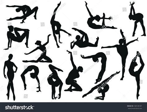 silhouette vector gymnastics silhouette vector stock vector 108148181