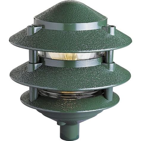 3 tier pagoda light progress lighting p5204 38 green 120v line voltage 100w