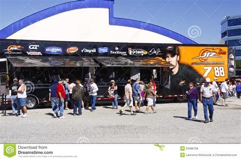 only fans free access nascar fans jr motorsports trailer editorial stock photo