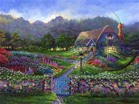 the cottage painting cottage by bonnie cook acrylic cottages
