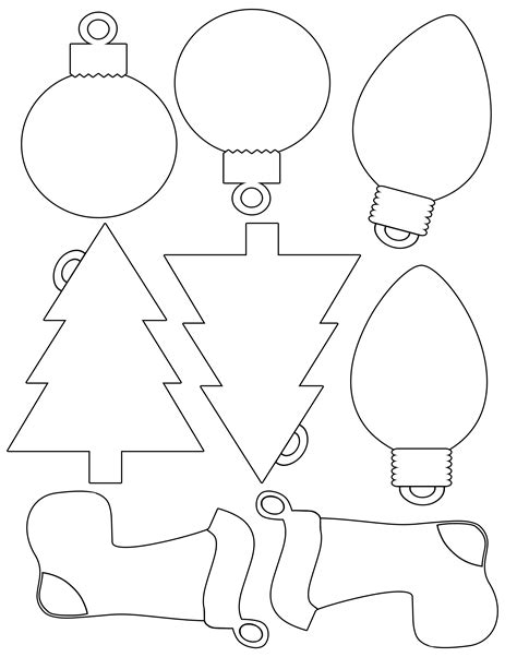 christmas ornament outlines printable printable envelope for shapes for gift tags color and print your own