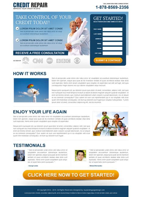 Credit Repair Landing Page Template Credit Repair Responsive Landing Page Design To Boost Conversion