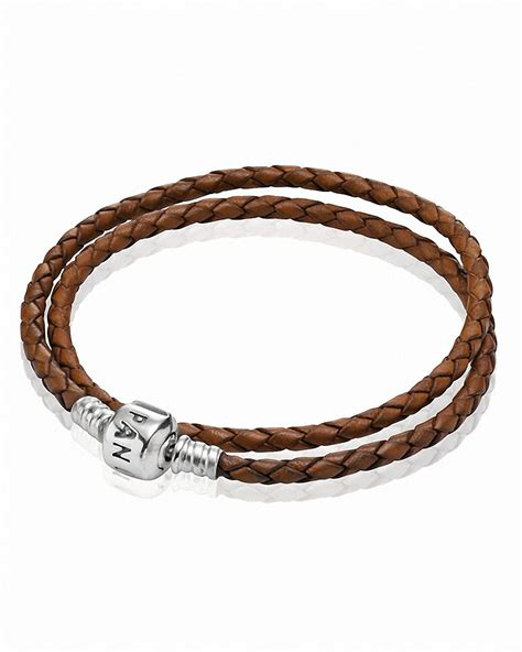 pandora bracelet brown leather wrap with sterling