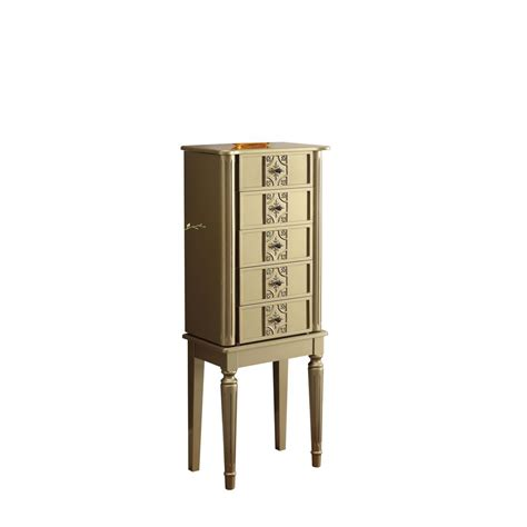 gold jewelry armoire acme furniture tammy gold jewelry armoire 97169 the home