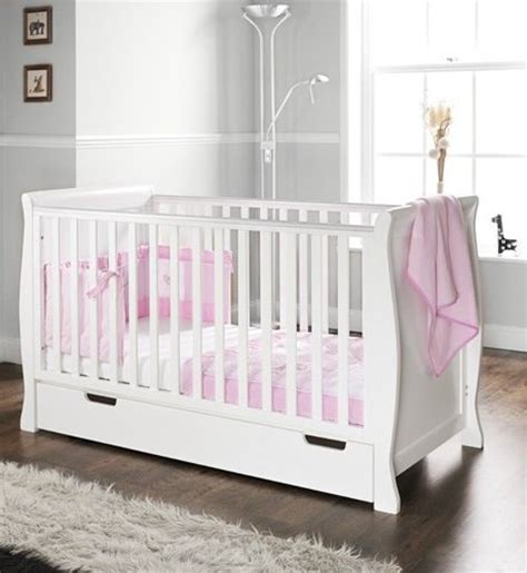 obaby sleigh cot bed and drawer white co