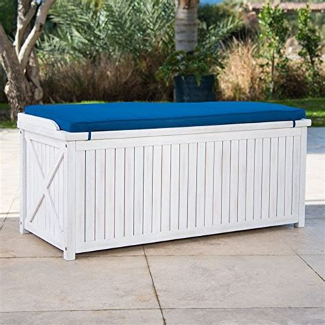 outdoor storage bench with cushion brighton beach outdoor wood storage bench with blue