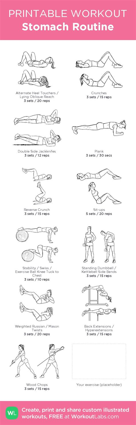 stomach routine illustrated exercise plan created