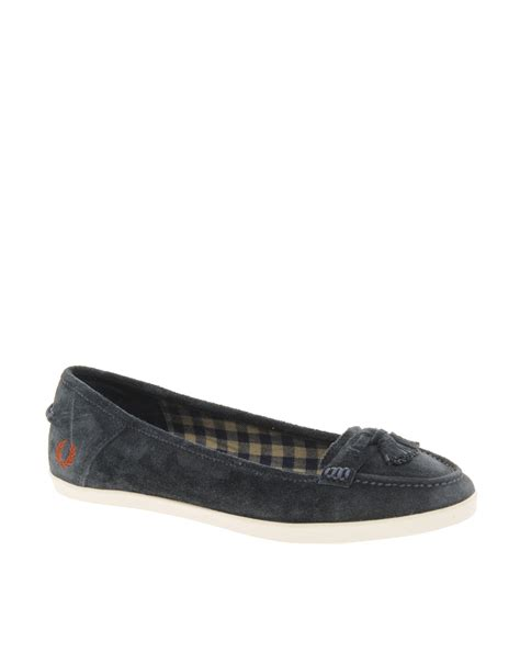flat suede shoes fred perry betty suede tassel flat shoes in blue navy lyst