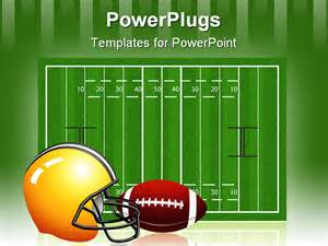 free football powerpoint templates rugby field with and helmet easy to edit just drag