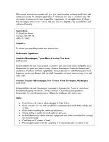 resume housekeeping resume sles housekeeping