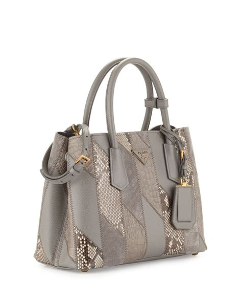 Patchwork Tote Bag - prada python crocodile patchwork small tote bag in gray
