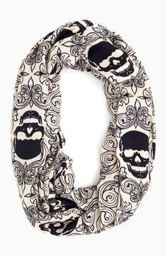 Skull Infinity Scarf Infinity Scarf In Balck And White Skulls And Leaves 20