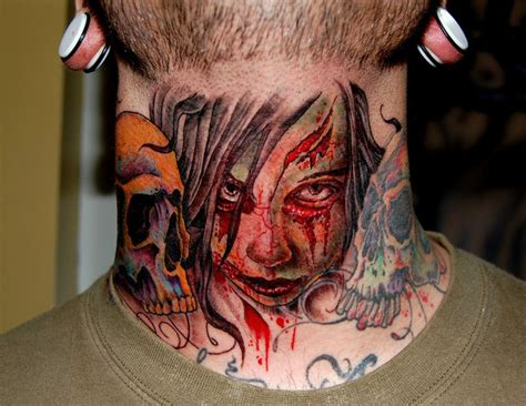 neck tattoo zombie zombie tattoos and designs page 15
